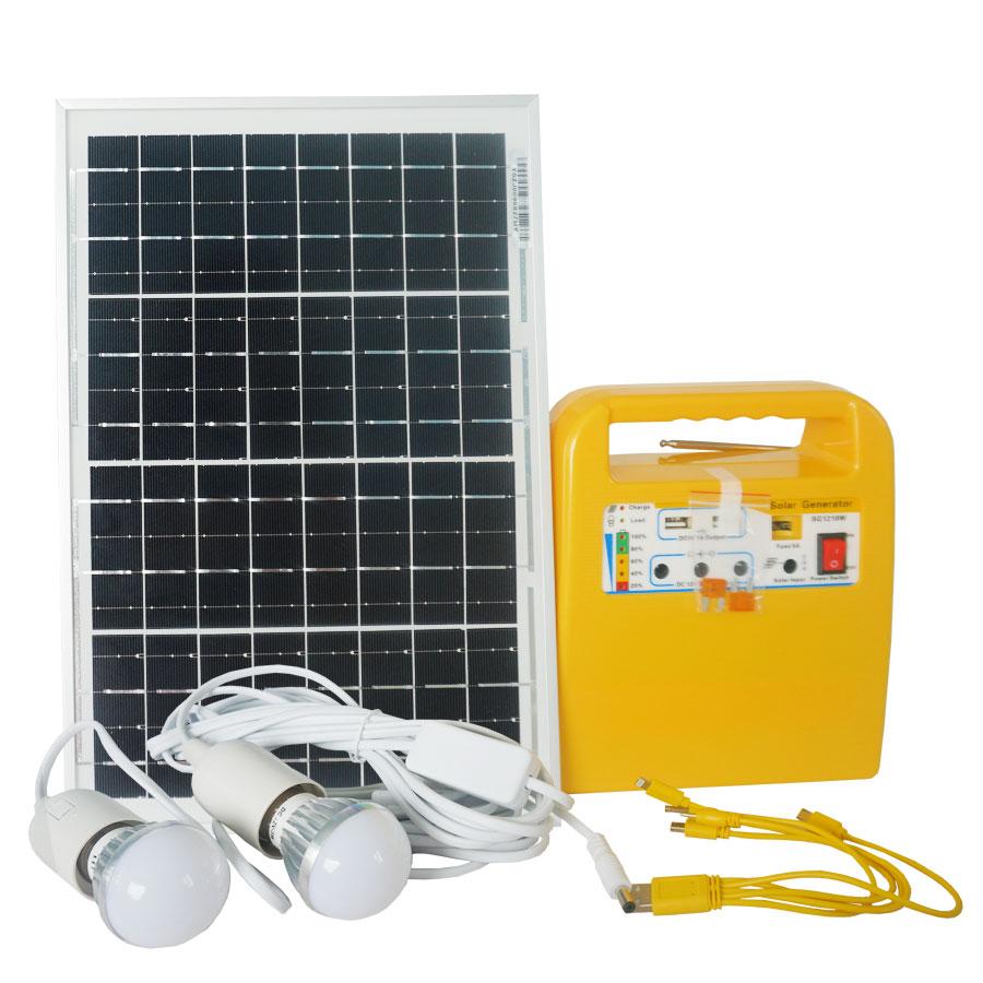 Máy phát điện mini 84w Xenon X1210 Năng Lượng Mặt Trời  kèm 2 đèn, cáp sạc 5 đầu